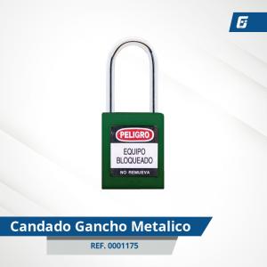 Candado Gancho Metálico - Cad Verde 38 mm